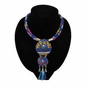 colier multicolor model tribal cu piatra albastra