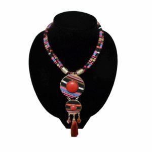colier multicolor model tribal cu piatra rosie