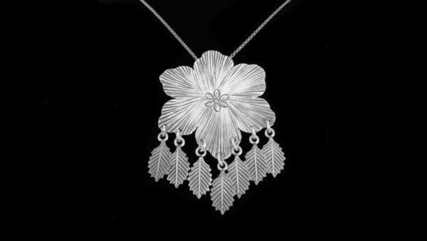 Lant si pandantiv argint lucrat manual model floare