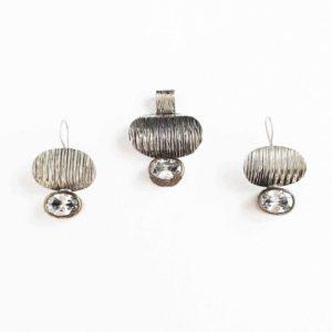 Set argint cercei si pandantiv vintage cu zircon