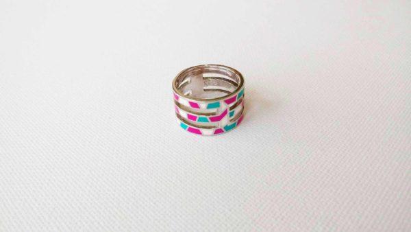 Set argint cercei+pandantiv+inel (roz, turcoaz, alb emailat)_3