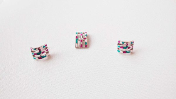 Set argint cercei+pandantiv+inel (roz, turcoaz, alb emailat)_1