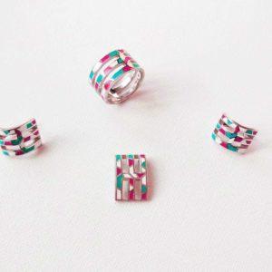 Set argint cercei pandantiv inel roz, turcoaz, alb emailat