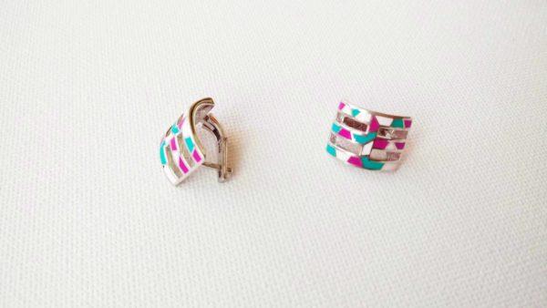 Set argint cercei+pandantiv+inel (roz, turcoaz, alb emailat)_2