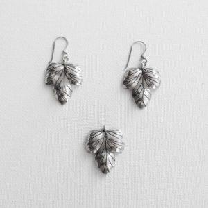 Set argint cercei+pandantiv+lant vintage cu frunza
